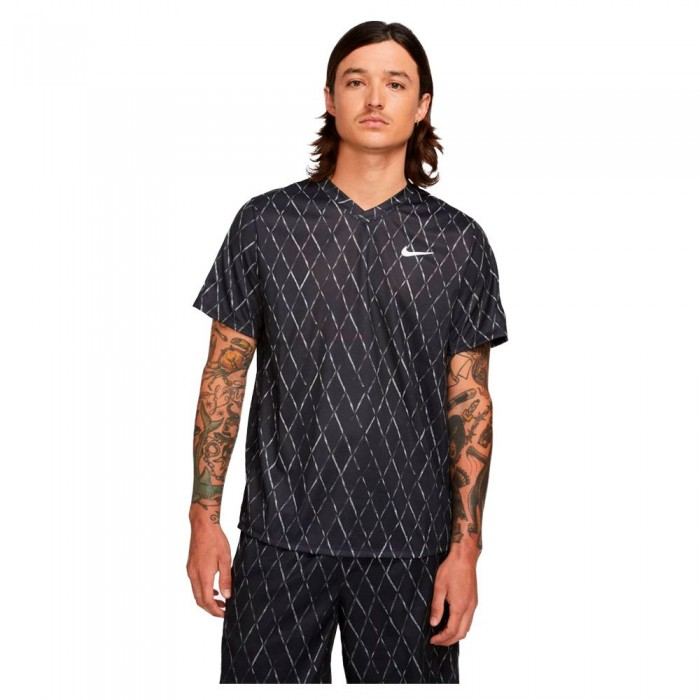 [해외]나이키 Court Dri Fit Victory Printed Short Sleeve T-Shirt 12138251257 Black / White