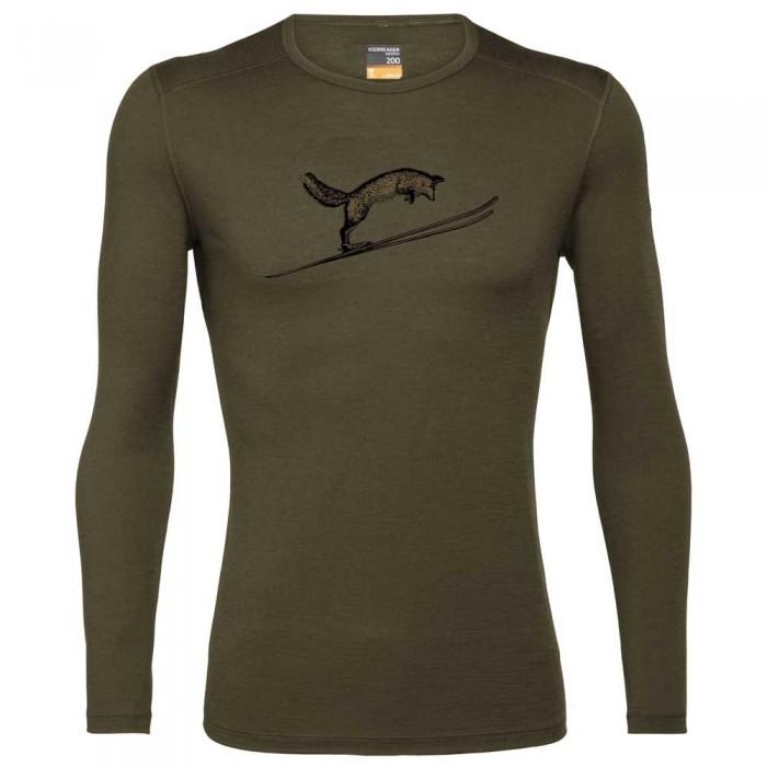 [해외]아이스브레이커 200 Oasis Fox Jump Long Sleeve Base Layer 12138297656 Loden
