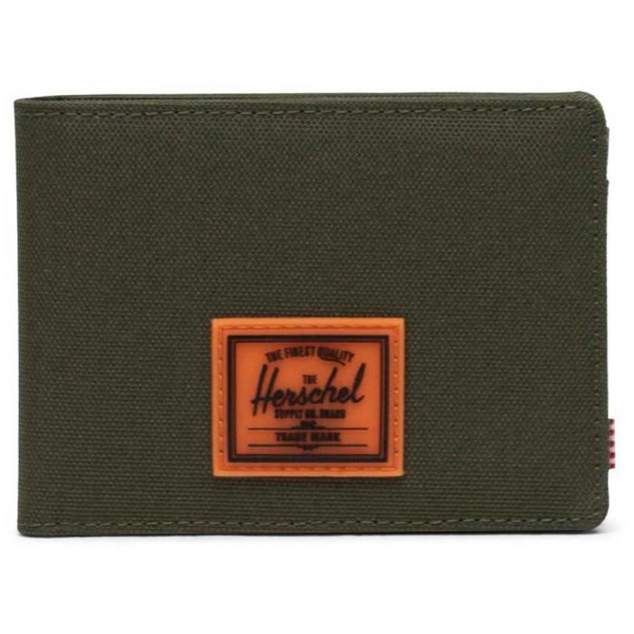 [해외]허쉘 Roy Rubber RFID Wallet Ivy Green/Shocking Orange