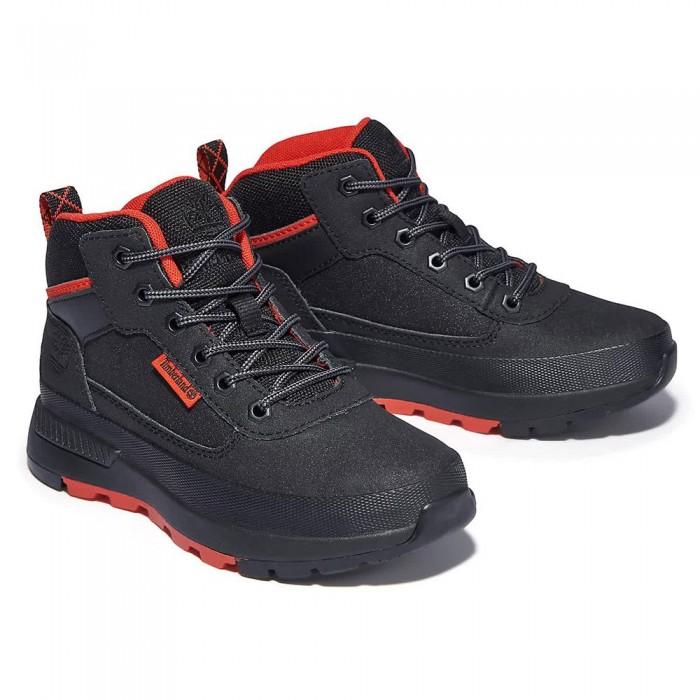[해외]팀버랜드 Field Trekker Mid Hiking Boots Junior 15138182179 Jet Black Leather