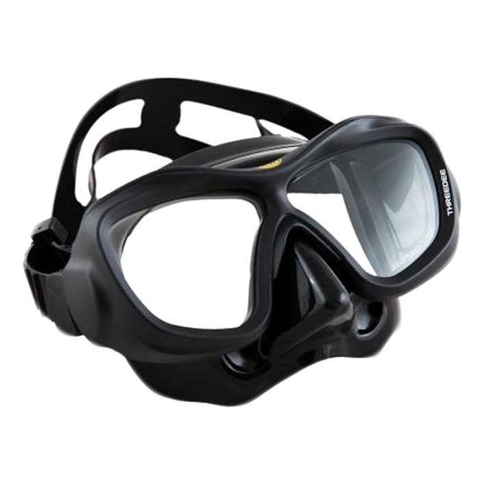 [해외]POSEIDON ThreeDee 3D Diving Mask 101312821 Black Silicone / Yellow